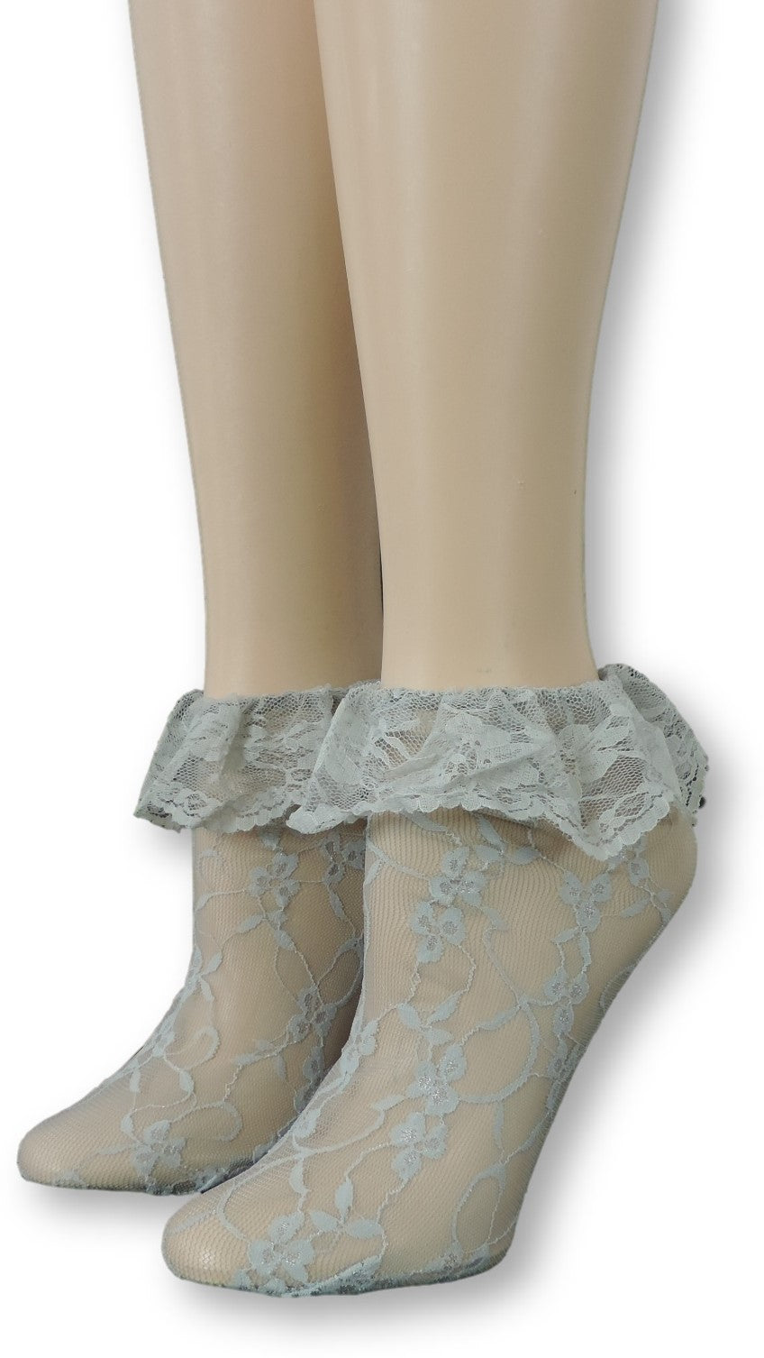Steel Grey Mesh Socks with edging lace - Global Trendz Fashion®