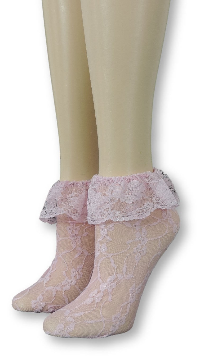 Rose Pink Mesh Socks with edging lace - Global Trendz Fashion®