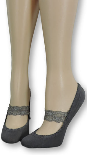 Pewter Ankle Socks with toile lace - Global Trendz Fashion®