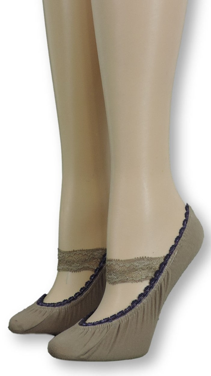 Stone Grey Ankle Socks with lace - Global Trendz Fashion®