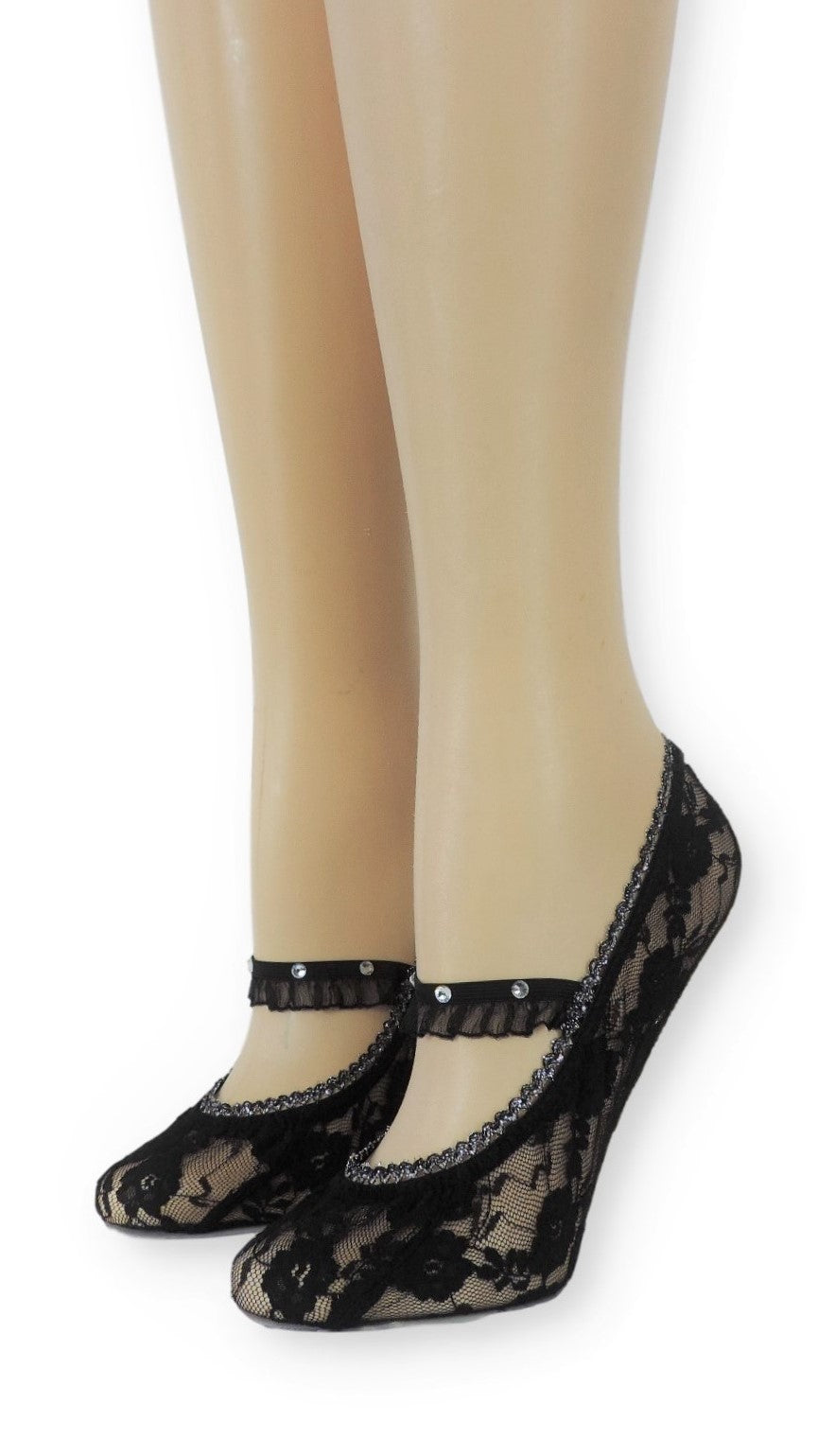 Black Ankle Mesh Socks with Frill strap - Global Trendz Fashion®