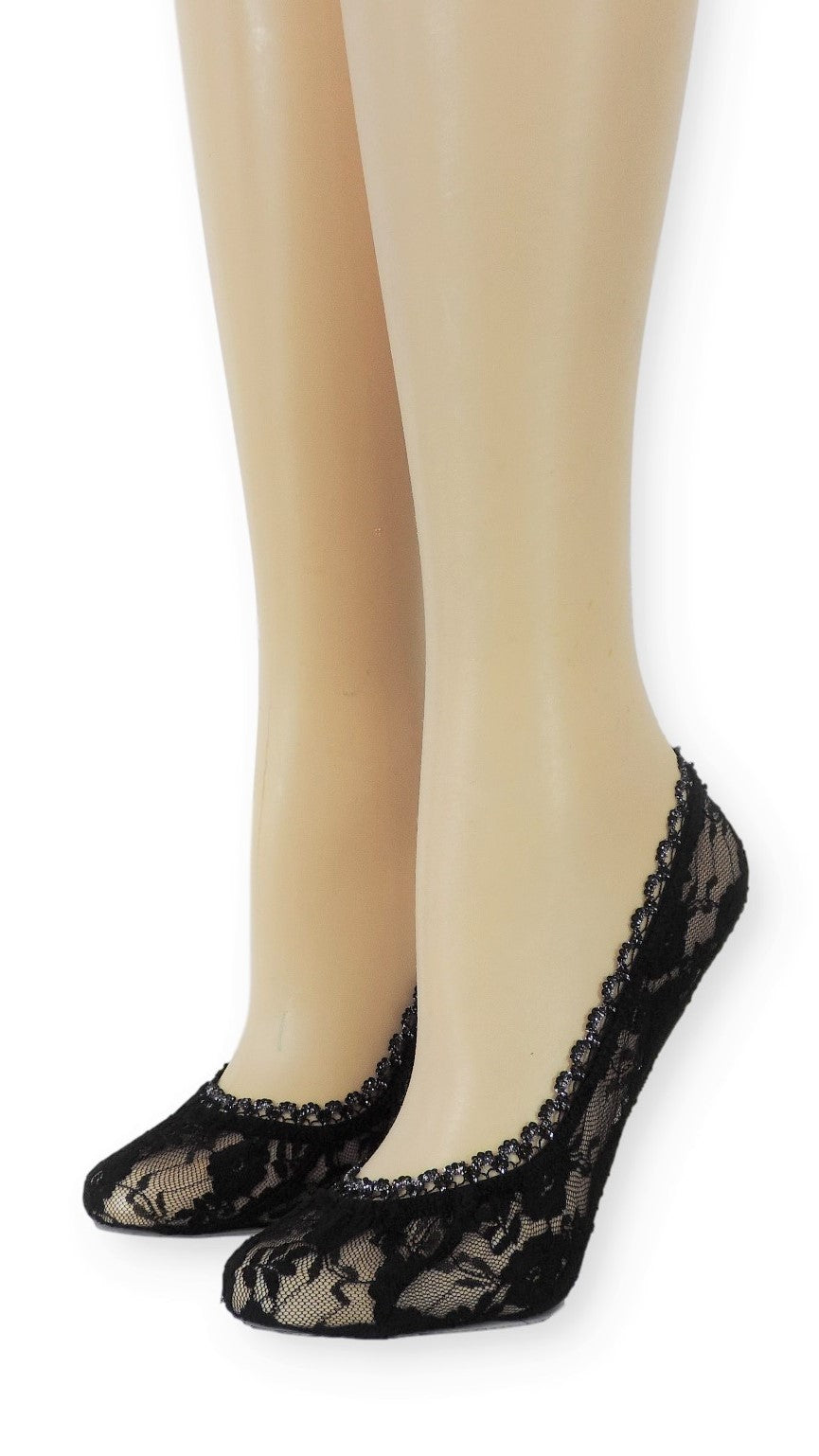 Black Ankle Mesh Socks with Glitter Lace - Global Trendz Fashion®