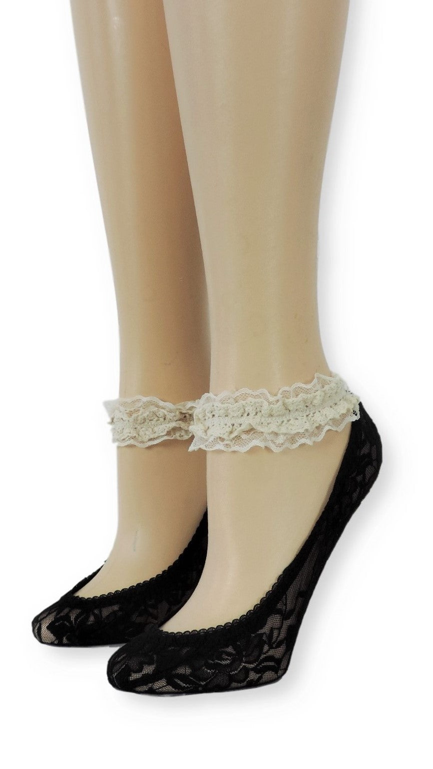 Jade Ankle Mesh Socks with Antique Lace - Global Trendz Fashion®