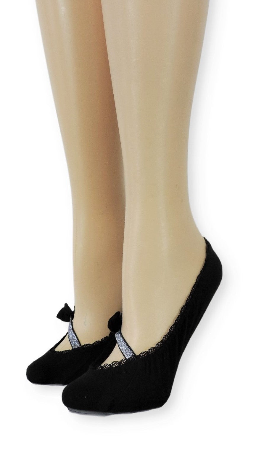 Sober Ankle Socks with Glitter Bow Strap - Global Trendz Fashion®