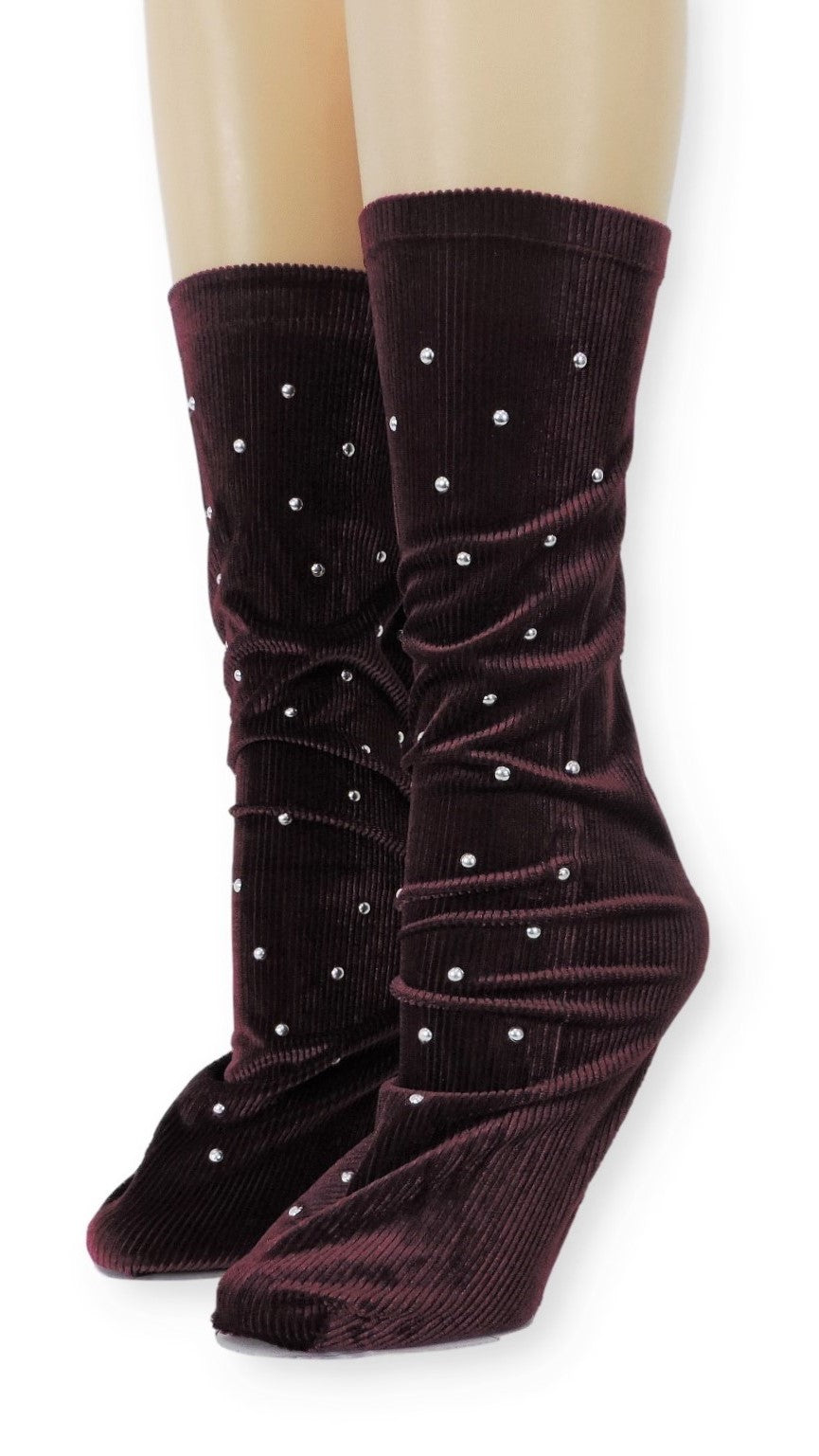 Ribbed Maroon Velvet Socks with Beads