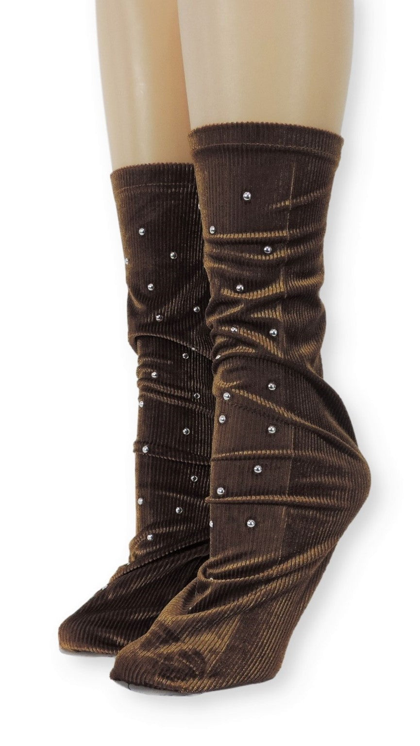 Ribbed Brown Velvet Socks with Beads