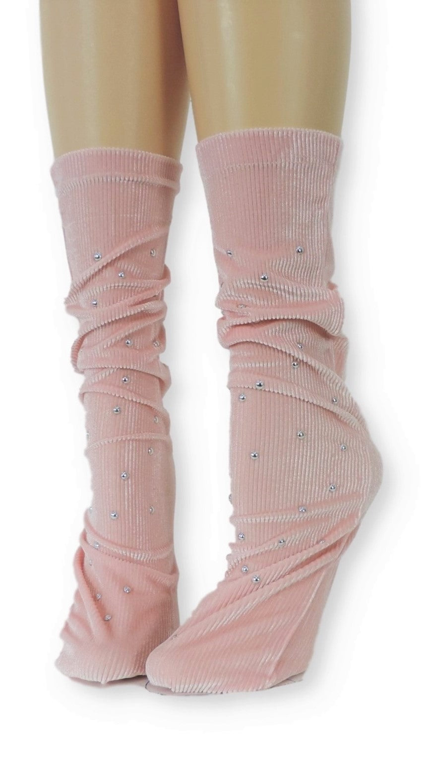 Ribbed Pink Velvet Socks with Beads - Global Trendz Fashion®