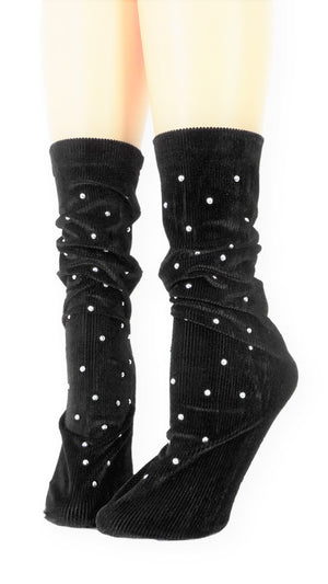 Ribbed Coal Velvet Socks with Beads - Global Trendz Fashion®