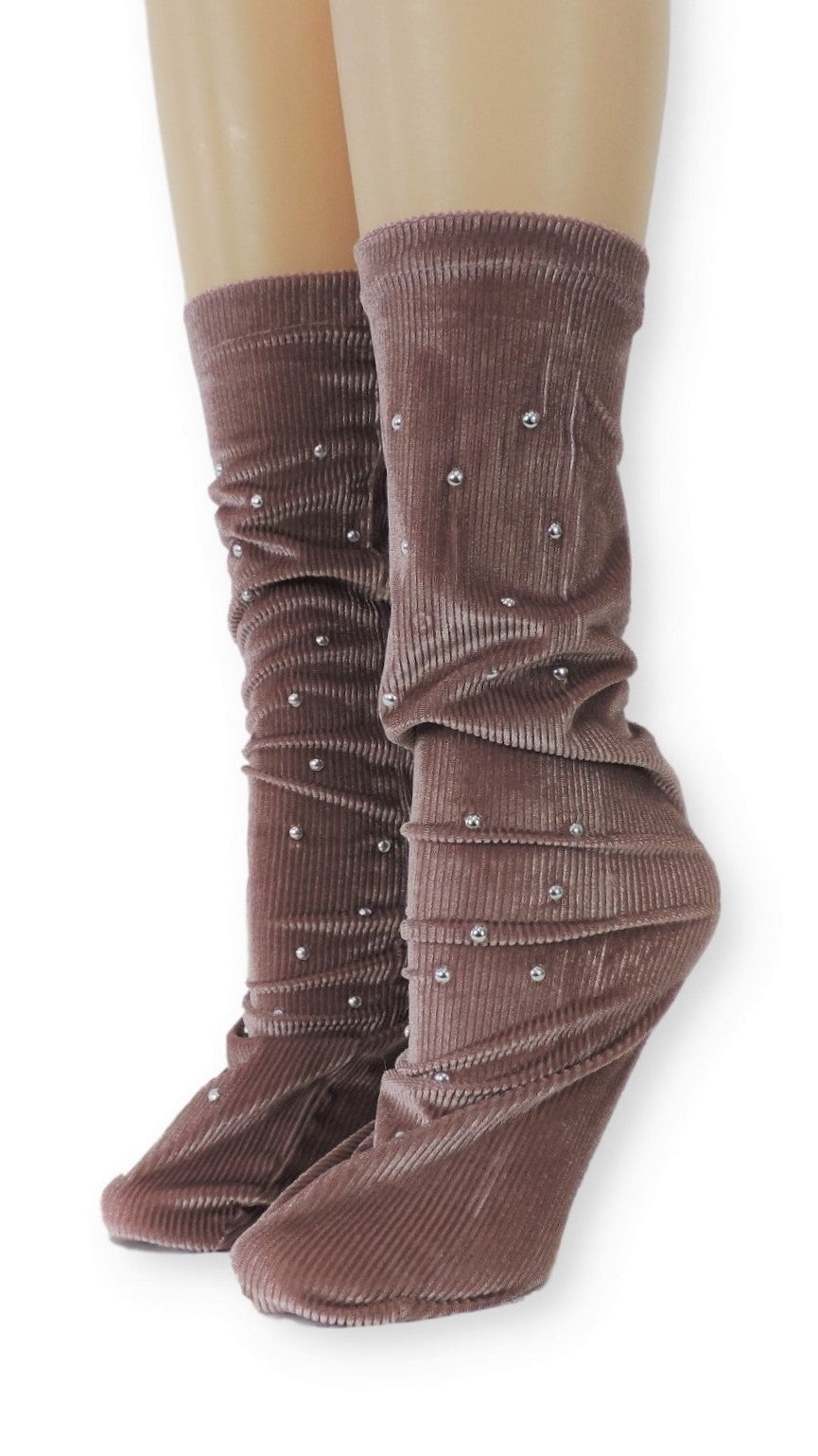Ribbed Tea Pink Velvet Socks with Beads