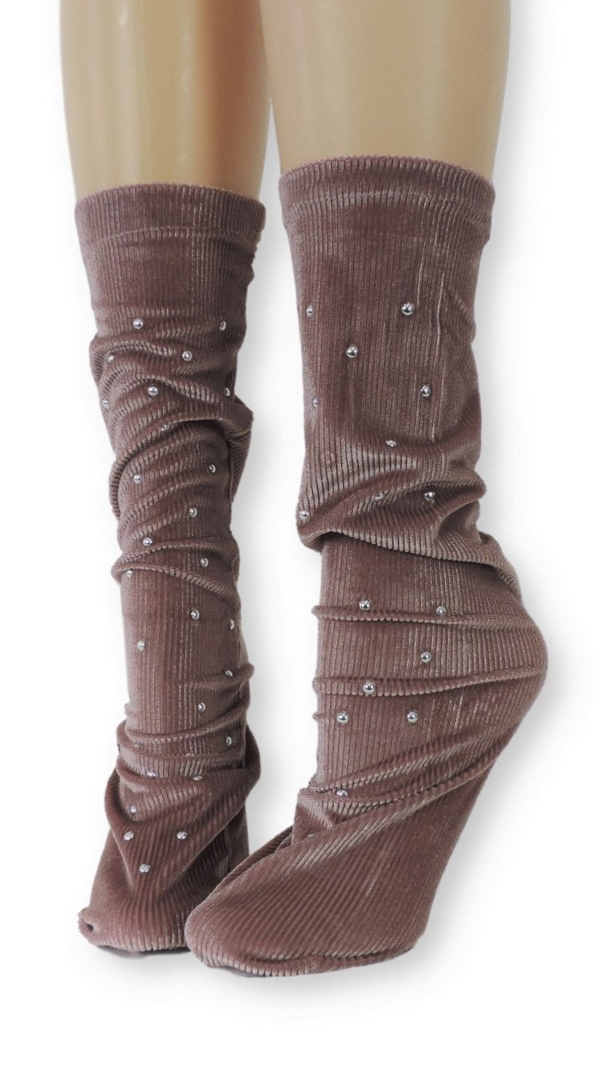 Ribbed Tea Pink Velvet Socks with Beads - Global Trendz Fashion®