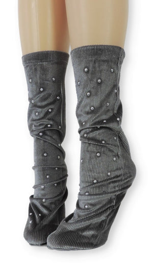 Ribbed Grey Velvet Socks with Beads