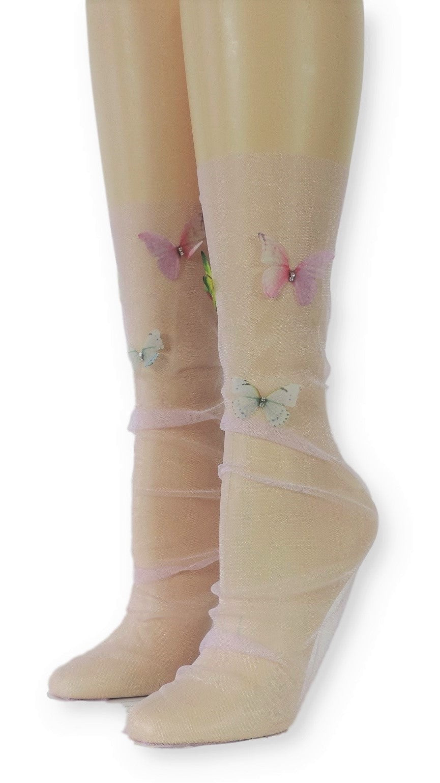 Lavender Tulle Socks with Butterflies