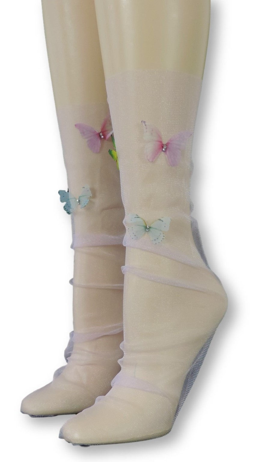 Pink Tulle Socks with Butterflies