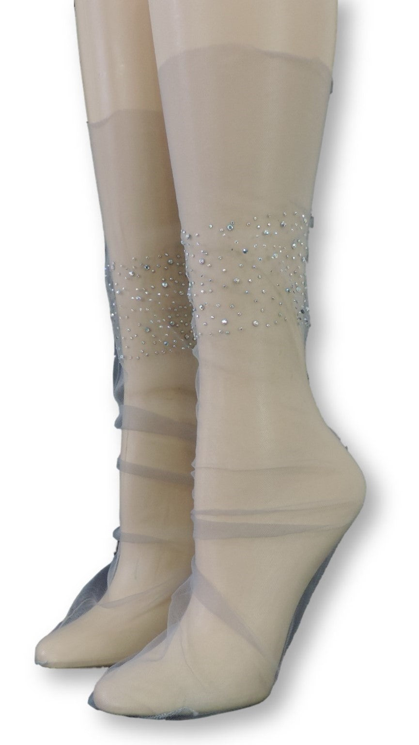 Rich Tulle Socks with Crystals