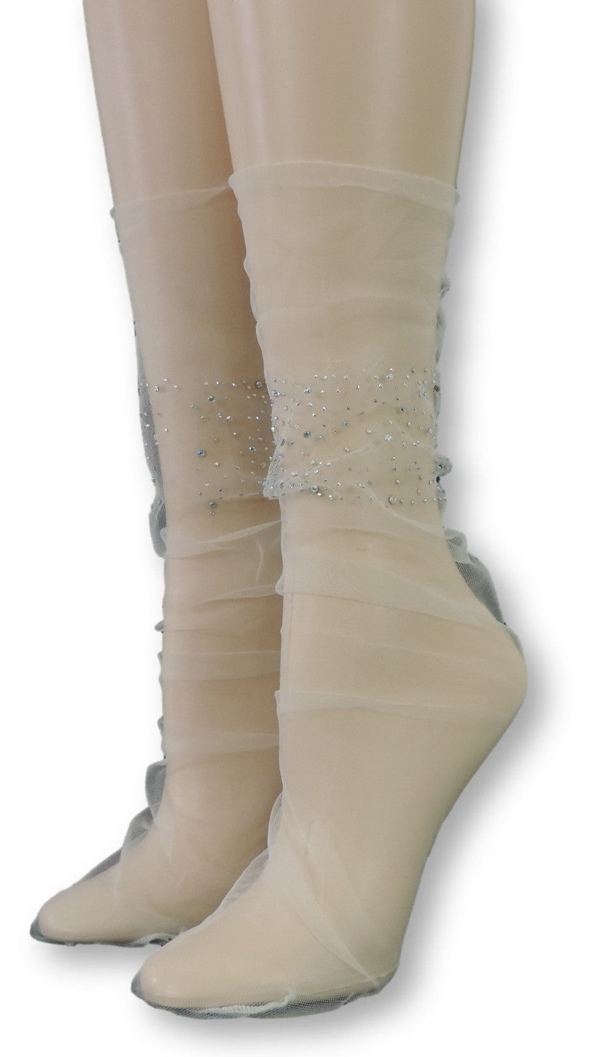 Stylish Tulle Socks with Crystals
