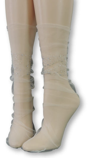 Stylish Tulle Socks with Crystals - Global Trendz Fashion®
