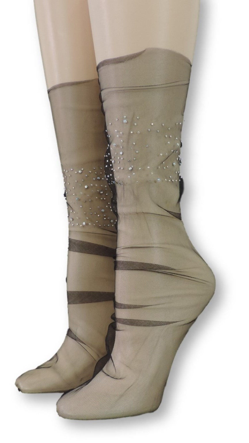 Bold Tulle Socks with Crystals
