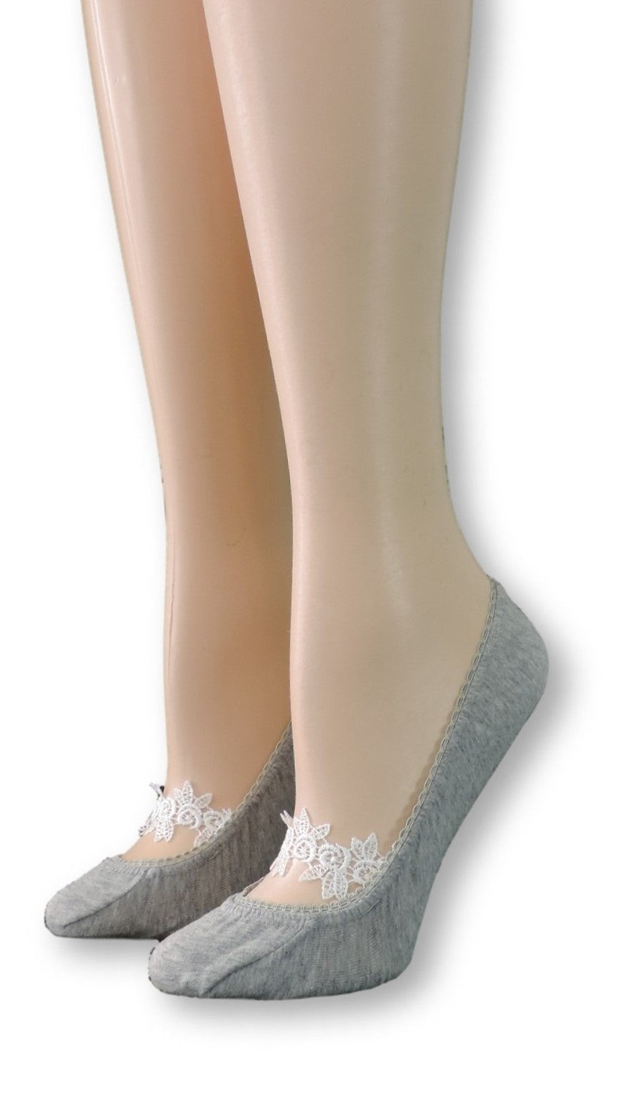Gray Ankle Socks with White Floral Lace