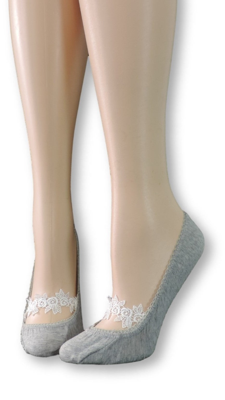 Gray Ankle Socks with White Floral Lace - Global Trendz Fashion®