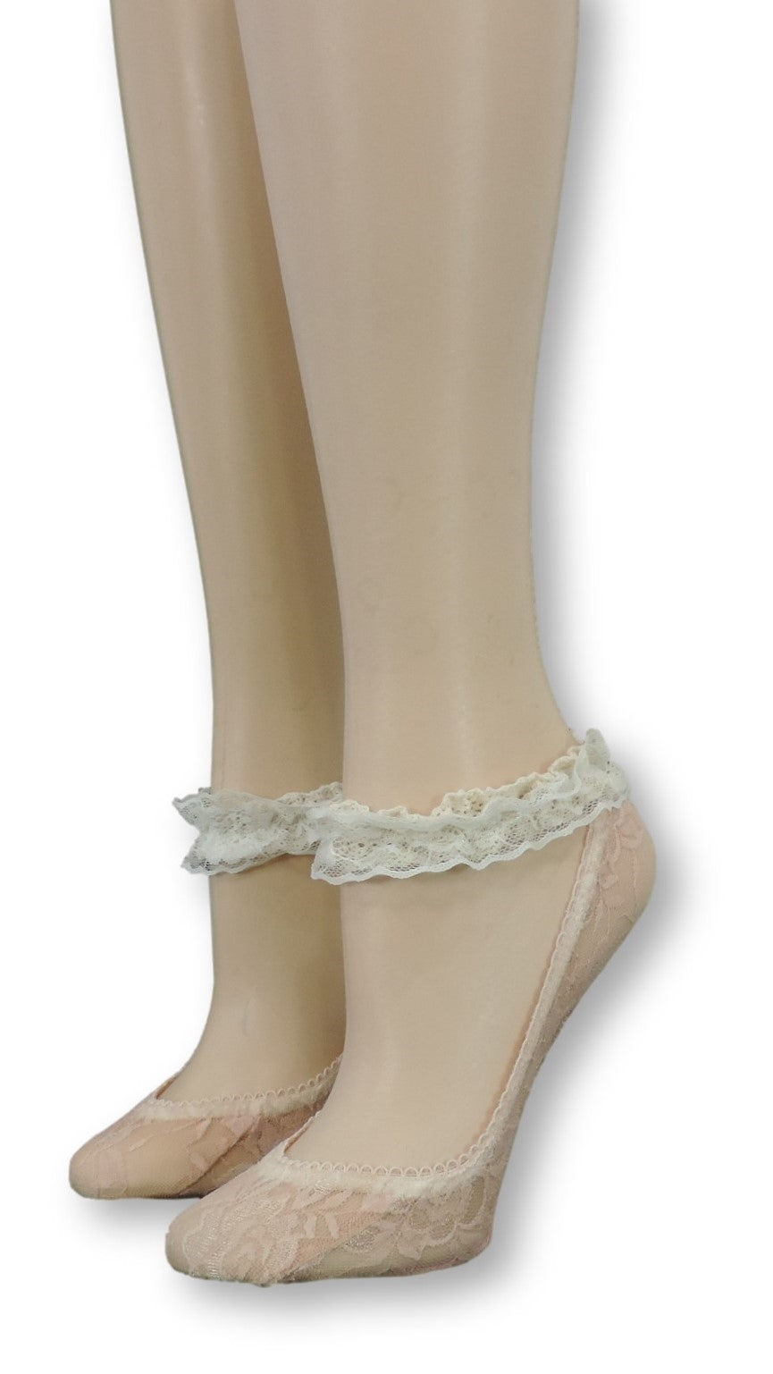 Peach Ankle Sheer Socks with Antique Lace