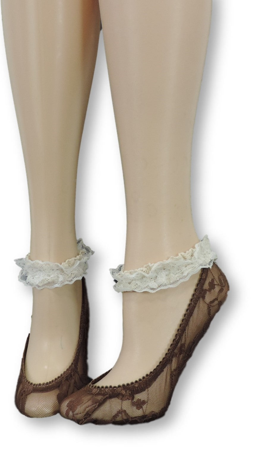 Brown Ankle Sheer Socks with Antique Lace - Global Trendz Fashion®