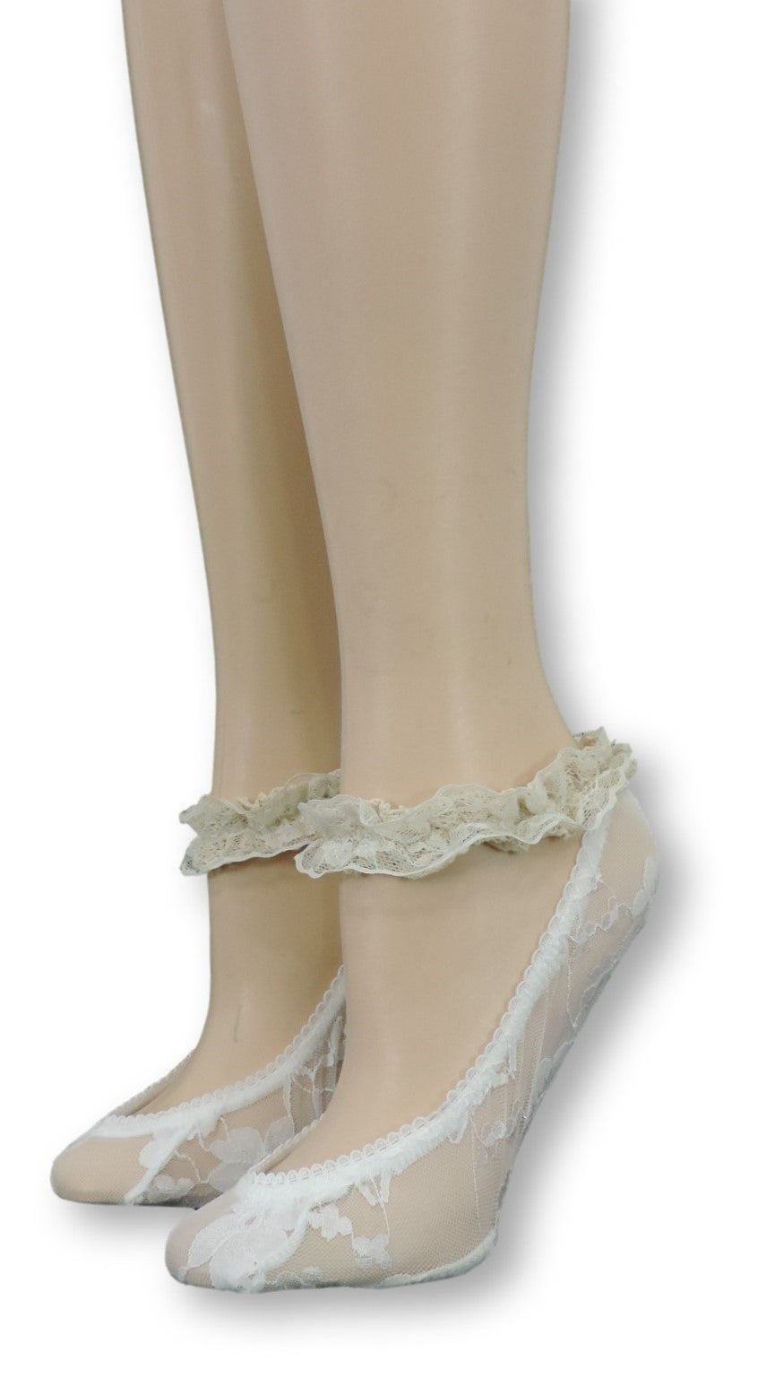 White Ankle Sheer Socks with Antique Lace - Global Trendz Fashion®