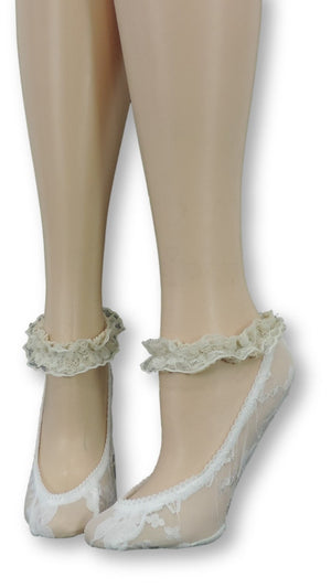 White Ankle Sheer Socks with Antique Lace