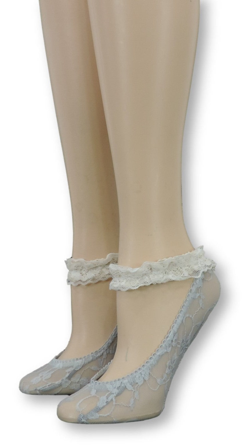 Grey Ankle Sheer Socks with Antique Lace