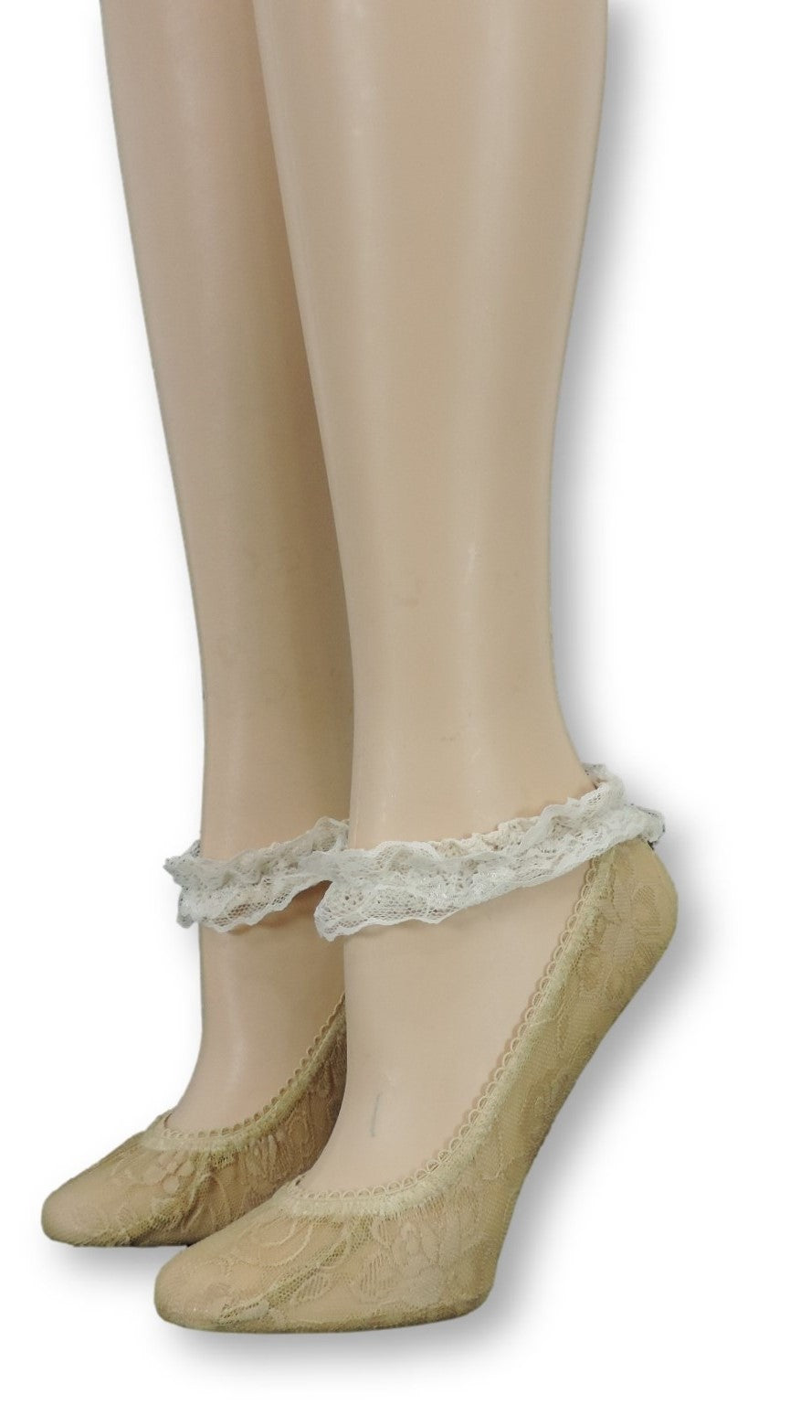 Golden Ankle Mesh Socks with Antique Lace - Global Trendz Fashion®