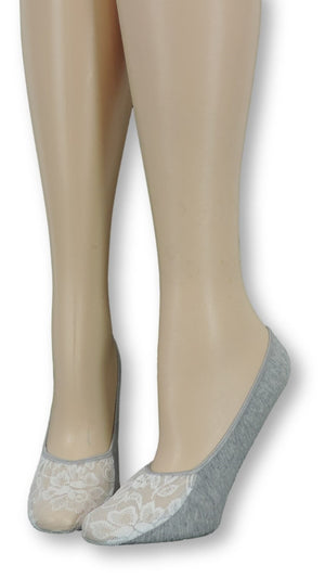 Cloud Grey Ankle Socks with White Mesh Top - Global Trendz Fashion®