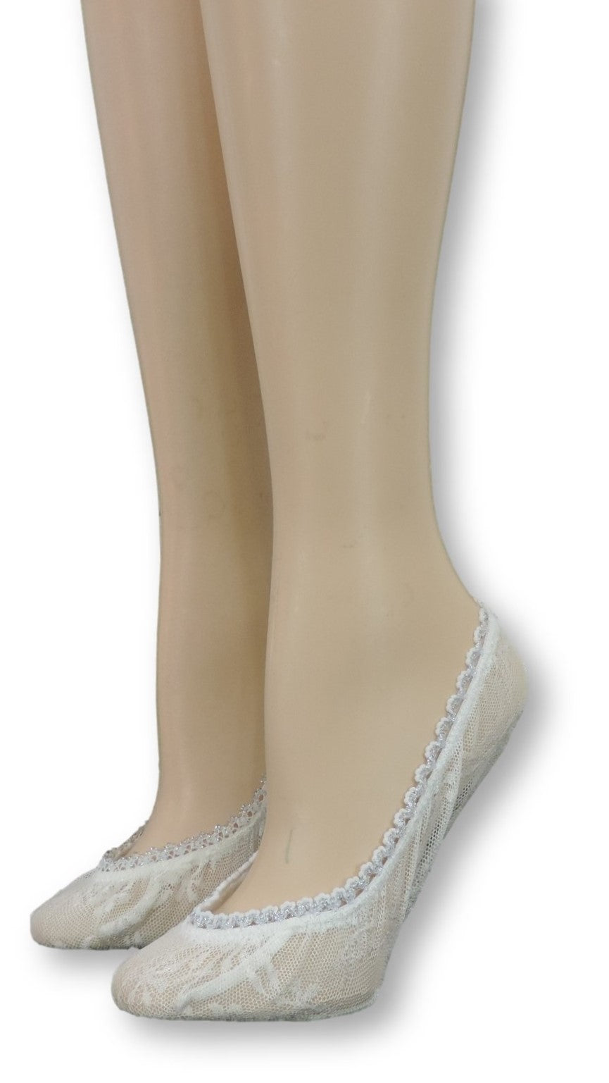 Pearl Ankle Socks with Glitter Lace