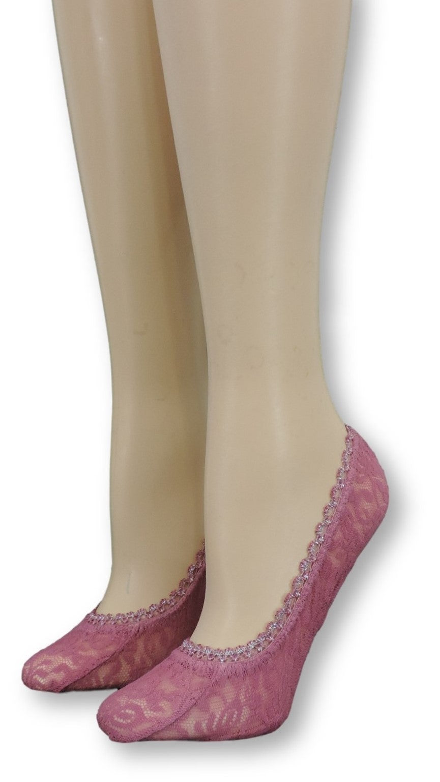 Magenta Ankle Mesh Socks with Glitter Lace - Global Trendz Fashion®