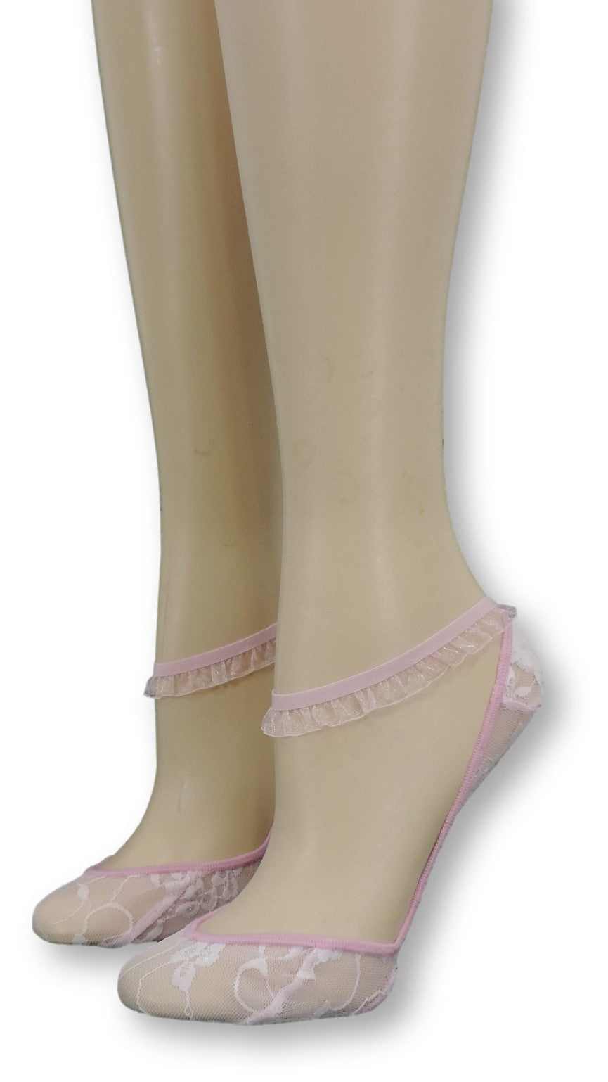 Flamingo Ankle Mesh Socks with Frill