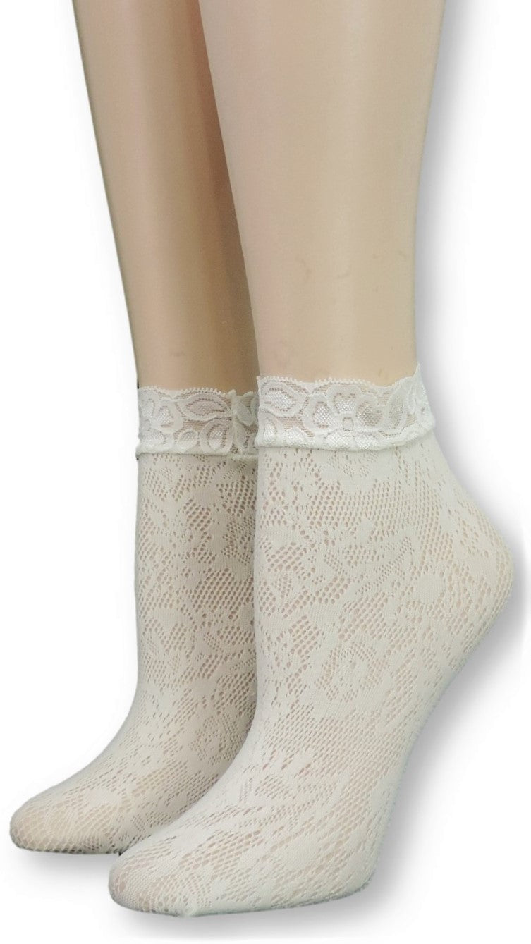 Alabaster Mesh Socks with lace