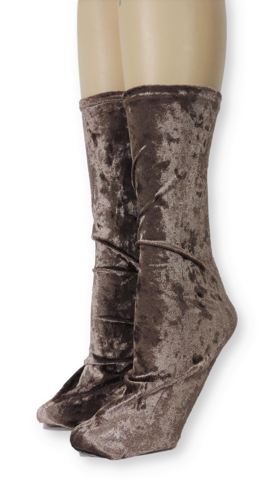 Brown Crushed Velvet Socks