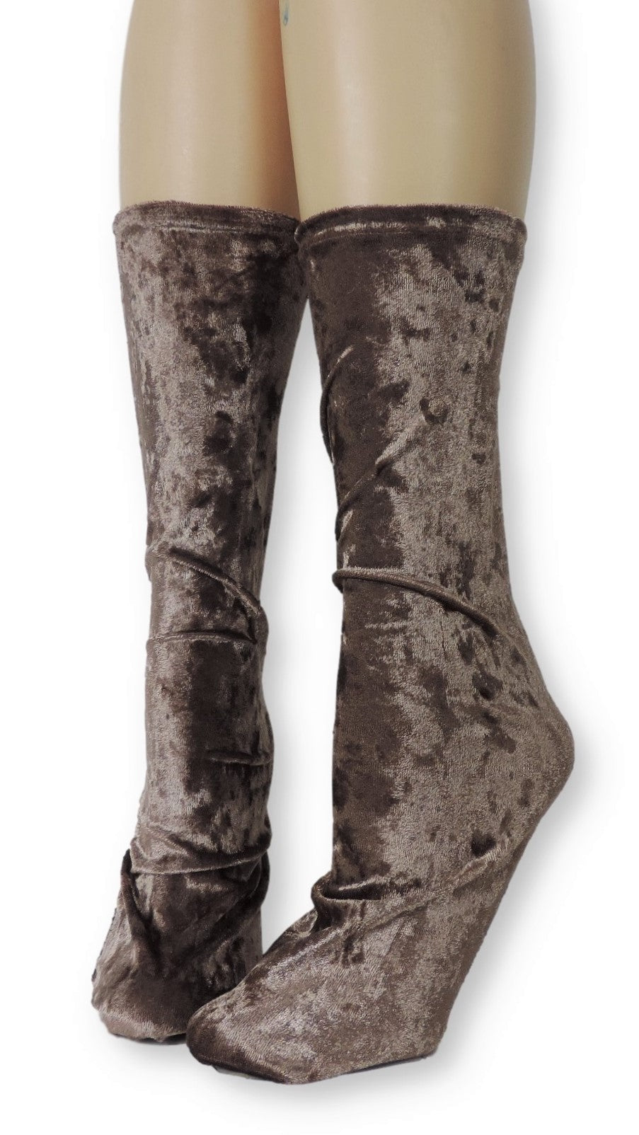Brown Crushed Velvet Socks - Global Trendz Fashion®