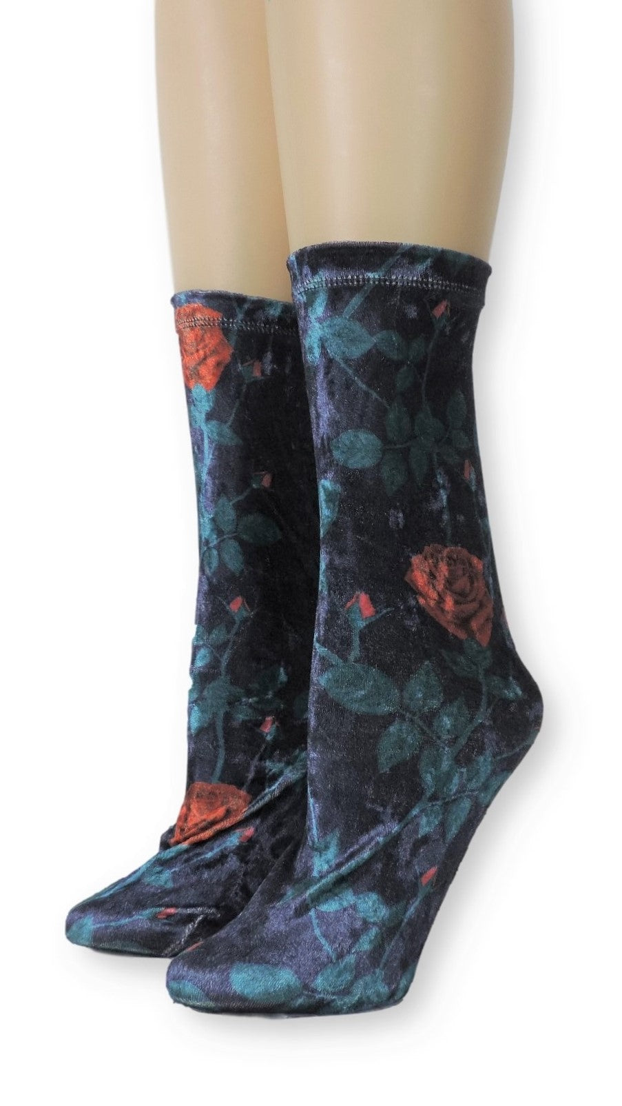 Red Rose Crushed Velvet Socks