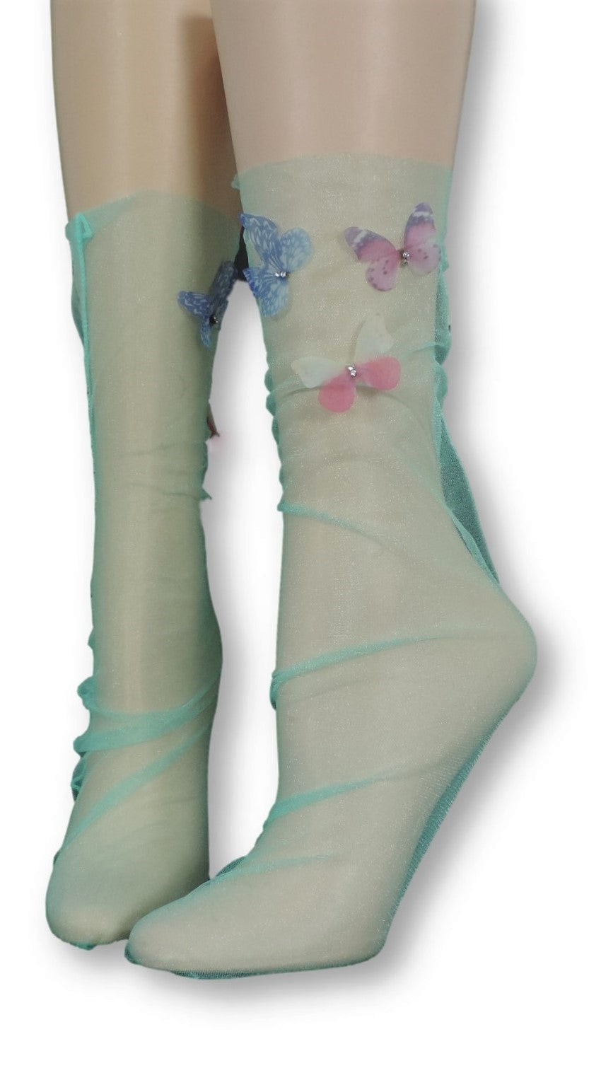 Sea Green Tulle Socks with butterflies - Global Trendz Fashion®