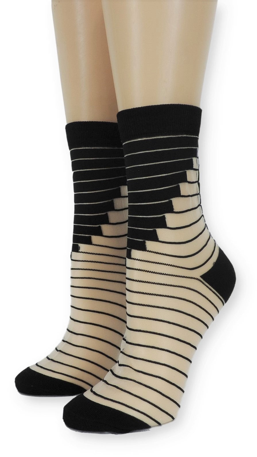 Artistic Black Striped Sheer Socks - Global Trendz Fashion®