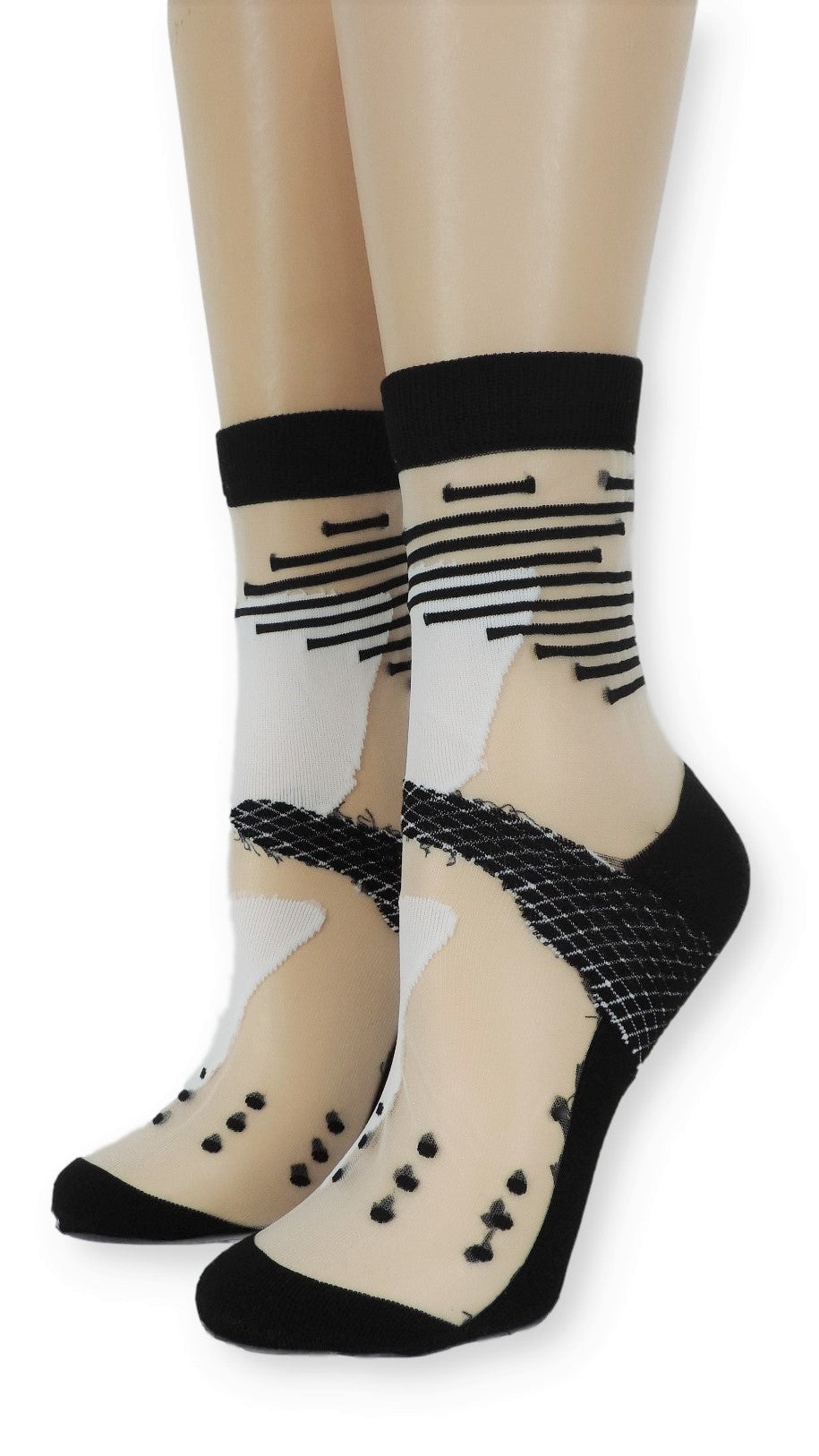 Vivid Black & White Sheer Socks - Global Trendz Fashion®