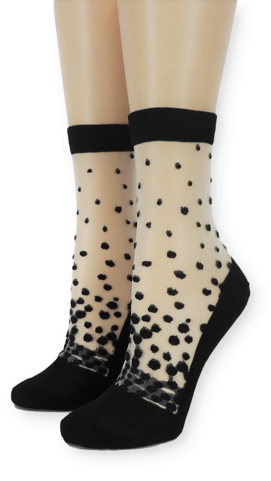 Black Stippled Sheer Socks - Global Trendz Fashion®