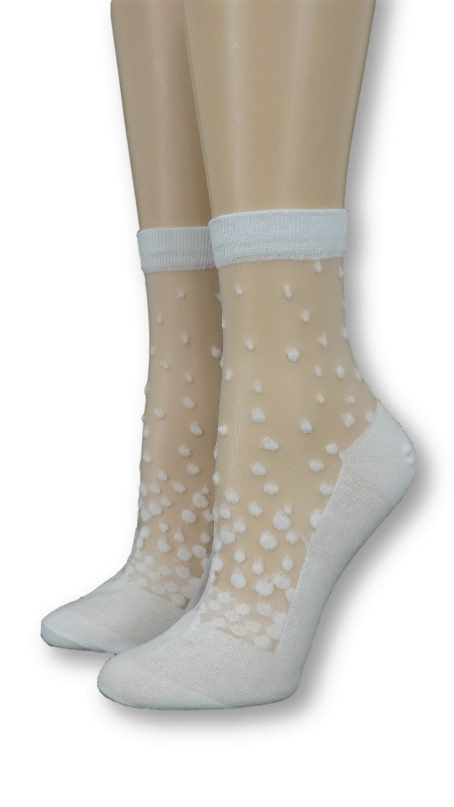 White Stippled Sheer Socks - Global Trendz Fashion®