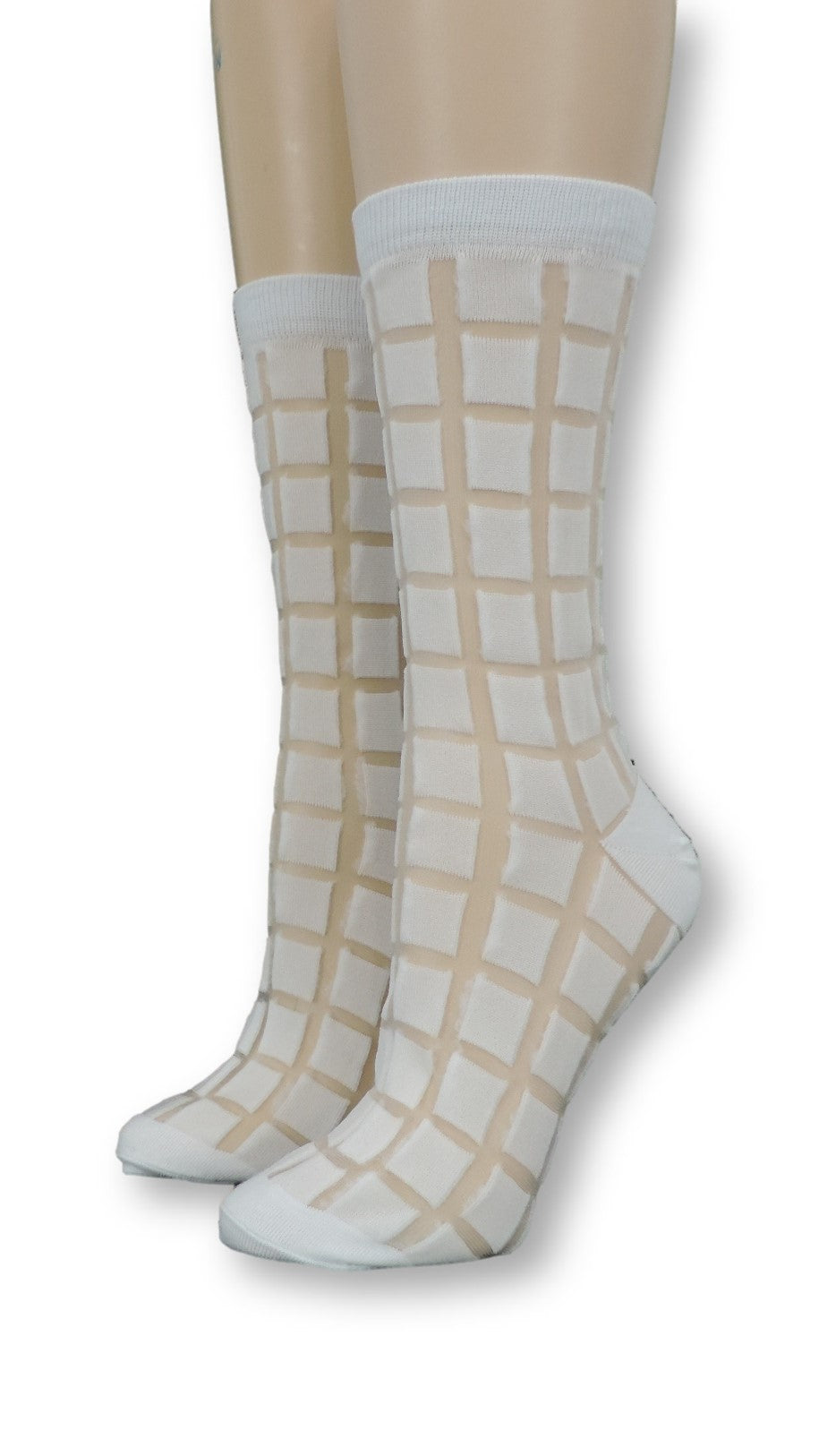Ash white Square Sheer Socks - Global Trendz Fashion®