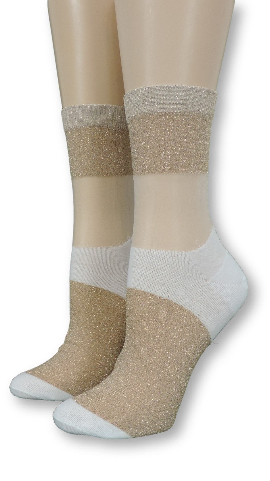 Golden & White Glitter Sheer Socks - Global Trendz Fashion®