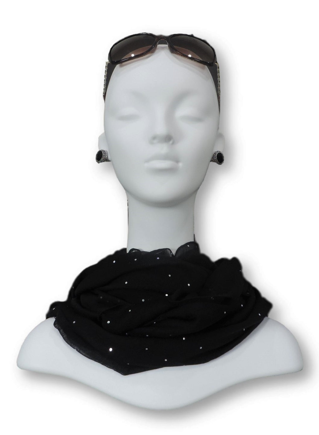 Black Embellished Viscose Scarf - Global Trendz Fashion®
