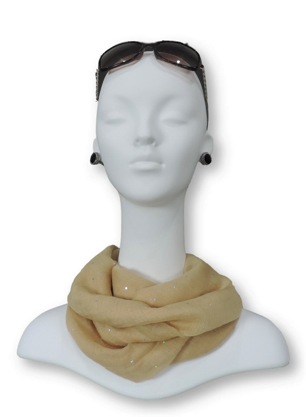 Yellow Beige Embellished Viscose Scarf - Global Trendz Fashion®