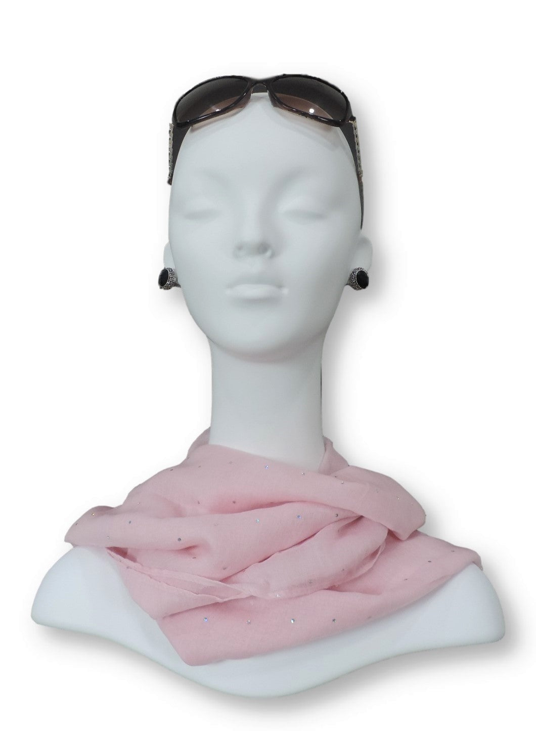 Baby Pink Embellished Viscose Scarf - Global Trendz Fashion®