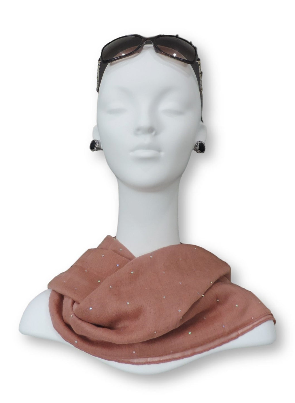 Dusty Rose Embellished Viscose Scarf - Global Trendz Fashion®