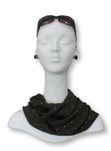 Dark Green Embellished Viscose Scarf - Global Trendz Fashion®