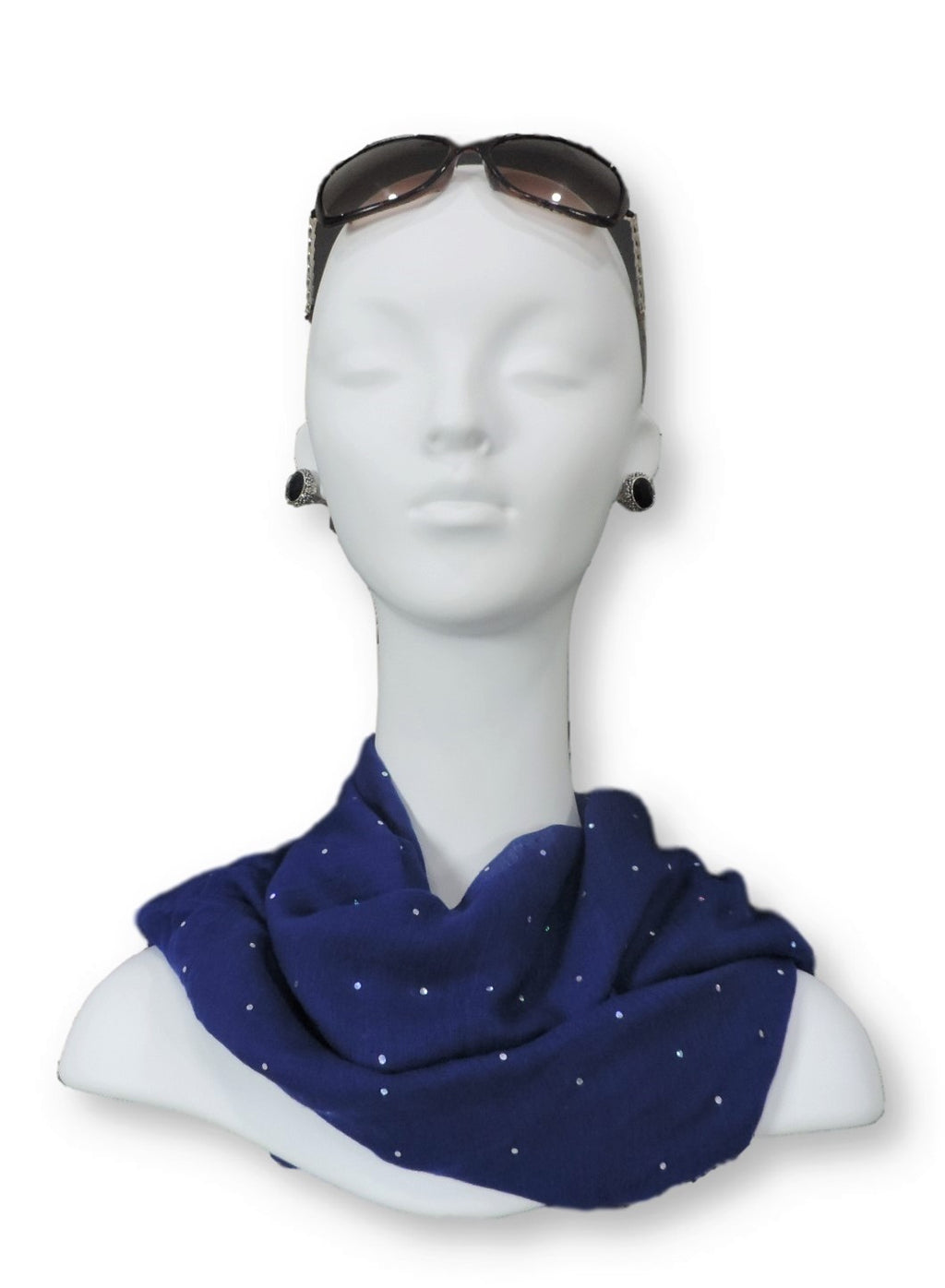Royal Blue Embellished Viscose Scarf - Global Trendz Fashion®